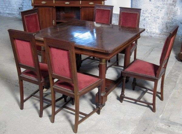 9- teiliges Mahagoni Speisezimmer aus dem 2. Empire um 1910 Antik Kolosseum 5