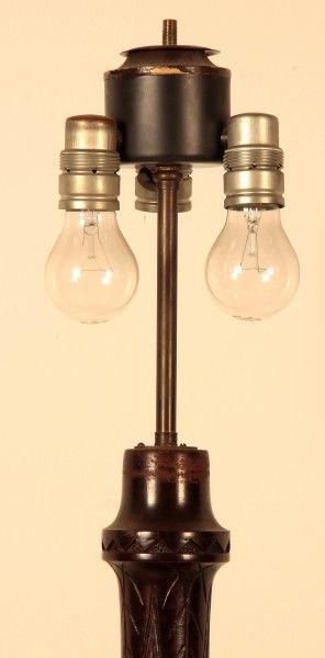 Seltene Gründerzeit Stehlampe mit schönem Schnitzwerk Antik Kolosseum 2