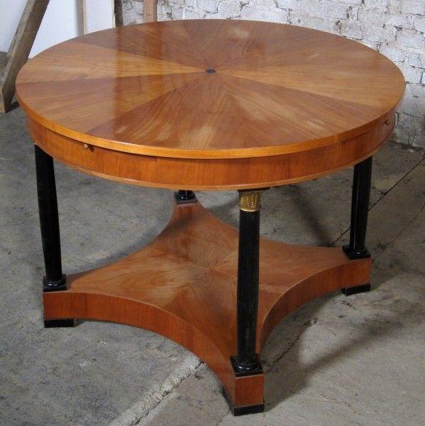 Runder Salontisch 2. Biedermeier gefertigt um 1880 aus Kirsche Antik Kolosseum 1