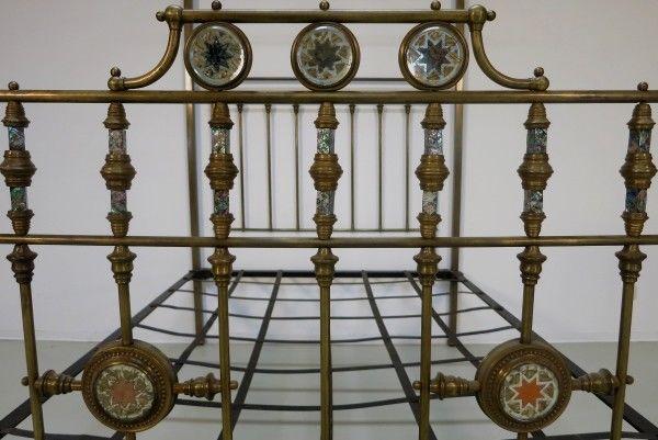Jugendstil Himmelbett aus Messing mit Perlmuteinalgen um 1900 Antik Kolosseum 5