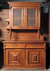 Original Gründerzeit Nussbaum Aufsatz Buffet gefertigt um 1900 Antik Kolosseum