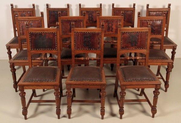 Seltener 12er Gründerzeit Stuhlsatz aus der Gründerzeit Antik Kolosseum