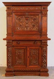 Neorenaissance Sekretär / Kabinettschrank mit Schnitzereien Antik Kolosseum