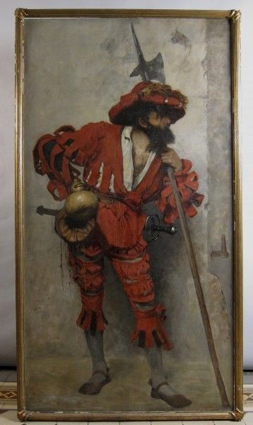 Sehr schönes Gemälde eines edlen Rittersmanns aus dem HistorismusAntik Kolosseum