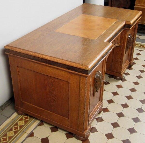 Schreibtisch Antik Berlin restaurierter kassettierter freistehender eiche schreibtisch antik