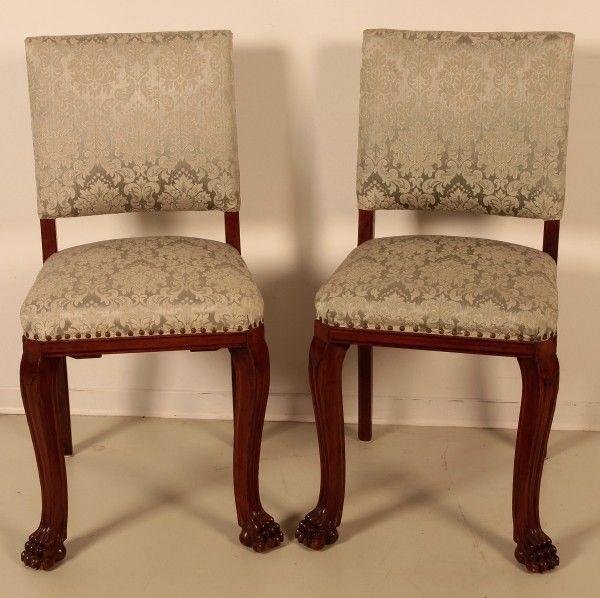 Schönes Pärchen Neorenaissance Stühle aus Nussbaum um 1920 Antik Kolosseum
