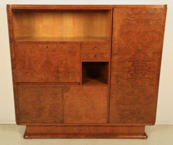 Heller Art Deco Kabinettschrank / Bücherschrank mit Sekretär Antik Kolosseum