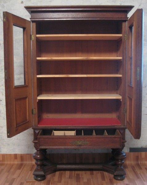 Gründerzeit Bücher- Vitrinenschrank mit schönen Beschlägen Antik Kolosseum 5