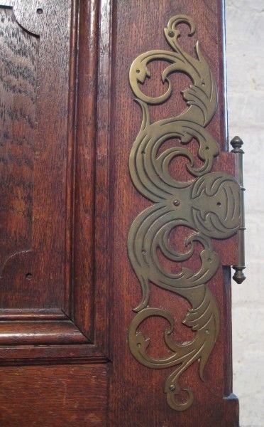 Gründerzeit Bücher- Vitrinenschrank mit schönen Beschlägen Antik Kolosseum 6