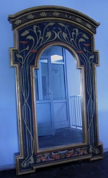 Wunderschöner Standspiegel im Stil des Jugendstlsl gefertigt Antik Kolosseum