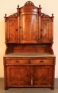 Louis Philippe Küchen- Buffet aus Nussbaum mit Marmorplatte Antik Kolosseum