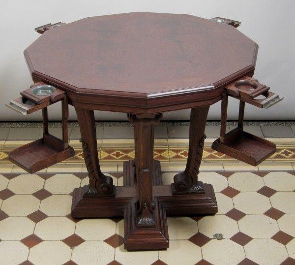 Formschöner Gründerzeit Spieltisch mit ausklappbaren Ablagen Antik Kolosseum