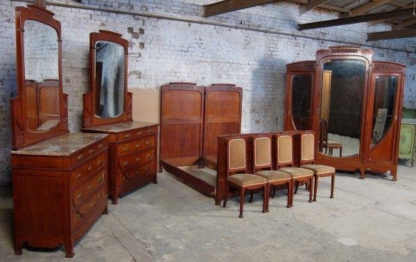 9 teiliges pariser jugendstil schlafzimmer aus mahagoni um 1900 antik kolosseum nr. Black Bedroom Furniture Sets. Home Design Ideas