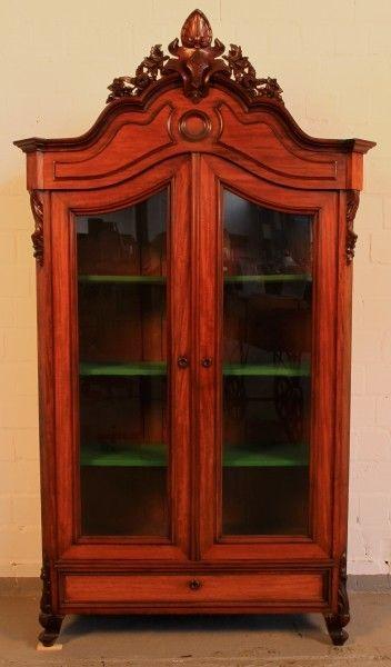 Schöne Louis Philippe Vitrine aus Mahagoni gefertigt um 1880 Antik Kolosseum