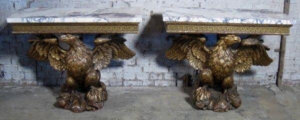 Zwei englische Konsolen mit riesigen Adlern und Marmorplatten Antik Kolosseum