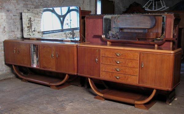 Zwei wunderschöne Art Deco Anrichten / Buffets aus Nussbaum Antik Kolosseum