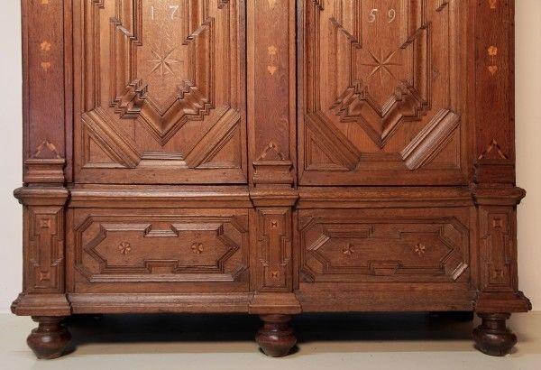 Imposanter Barock Schrank gefertigt im Jahr 1759 aus Eiche Antik Kolosseum 7