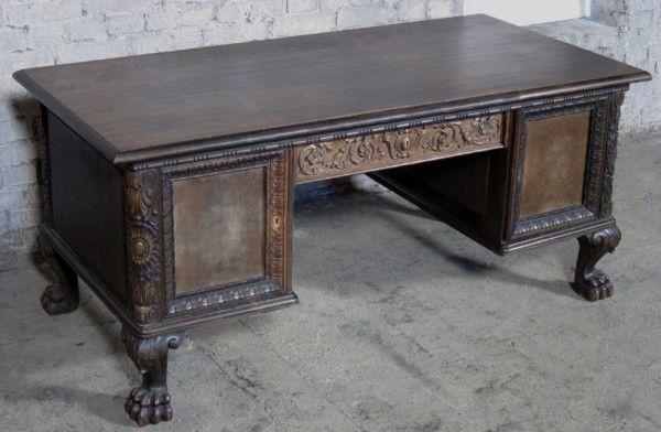 Neorenaissance Schreibtisch aus Nussbaum und Eiche um 1920 Antik Kolosseum 2
