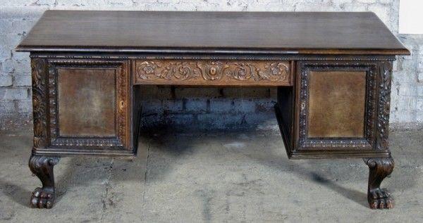 Neorenaissance Schreibtisch aus Nussbaum und Eiche um 1920 Antik Kolosseum 3