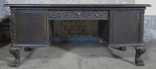 Neorenaissance Schreibtisch aus Nussbaum und Eiche um 1920 Antik Kolosseum 4