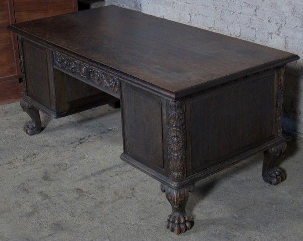 Neorenaissance Schreibtisch aus Nussbaum und Eiche um 1920 Antik Kolosseum 5