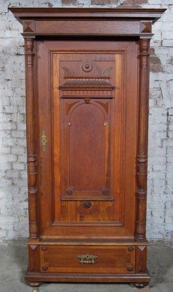 Berliner Gründerzeit Säulen- Schrank aus Eiche gefertigt um 1900 Antik Kolosseum 0