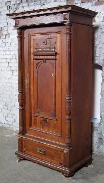 Berliner Gründerzeit Säulen- Schrank aus Eiche gefertigt um 1900 Antik Kolosseum 2