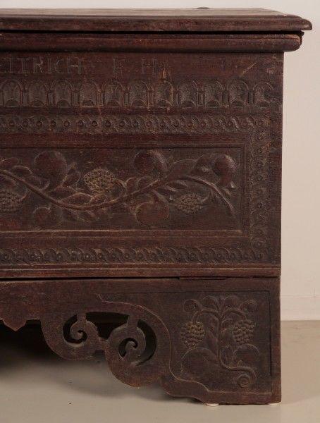 Originale Barock Truhe gefertigt im Jahr 1716 aus Eiche Antik Kolosseum 5