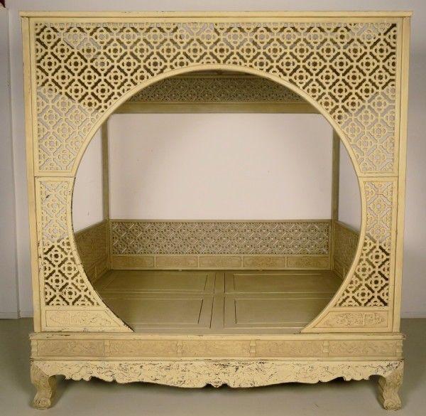 Original chinesisches Himmelbett mit schönen Schnitzereien Antik Kolosseum 4
