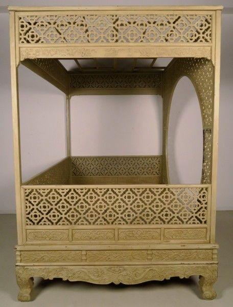 Original chinesisches Himmelbett mit schönen Schnitzereien Antik Kolosseum 5