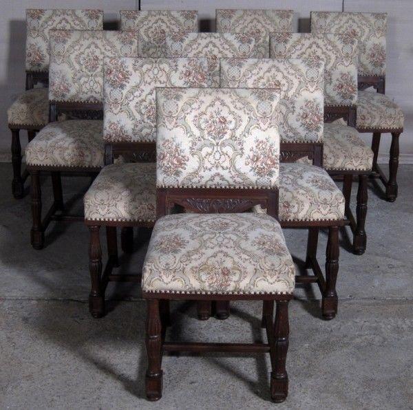 Seltener 10er Satz Gründerzeit Stühle gefertigt um 1910 Eiche Antik Kolosseum