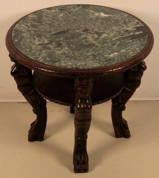 Schöner Sofatisch aus der Neorenaissance mit Marmorplatte Antik Kolosseum