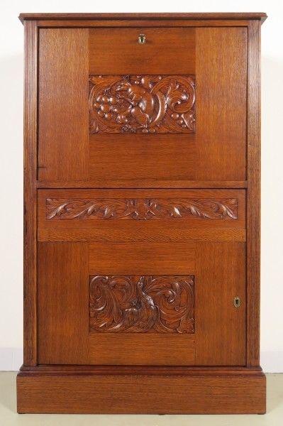 Restaurierter Jugendstil Eiche Barschrank / Kabinettschrank Antik Kolosseum
