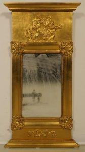 Außergewöhnlicher vergoldeter Empire Wandspiegel Antik Kolosseum