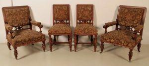 Zwei Lese- Sessel und zwei Stühle aus der Gründerzeit Antik Kolosseum