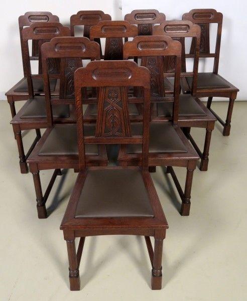 Zehn seltene restaurierte Gründerzeit Stühle mit Lederbezug Antik Kolosseum