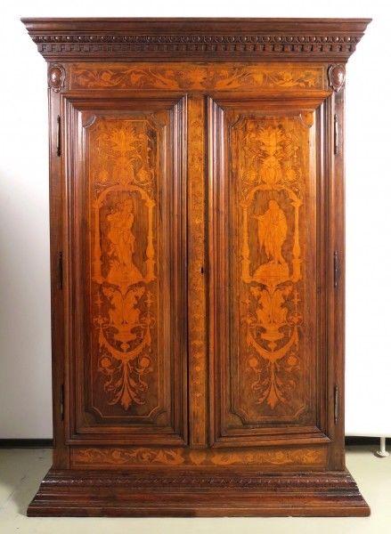 Original Barock Kleiderschrank mit wunderschönen Intarsien Antik Kolosseum 0