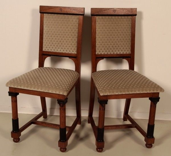 Elegantes Paar Jugendstil Stühle aus Buche teilweise ebonisiert Antik Kolosseum