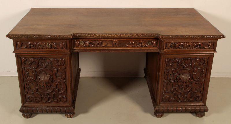 Gründerzeit Schreibtisch mit geschnitzten Fronten Antik Kolosseum