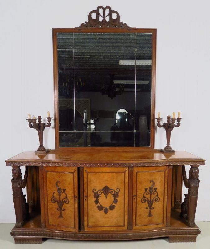 Zwei wunderschöne Neorenaissance Buffets mit Spiegelaufsatz Antik Kolosseum 1