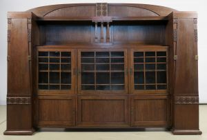 Einzigartiger riesiger Jugendstil Bücherschrank aus Eichenholz Antik Kolosseum