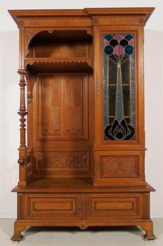 Gründerzeit Garderobenschrank mit Bank und kleiner Vitrine Antik Kolosseum 0