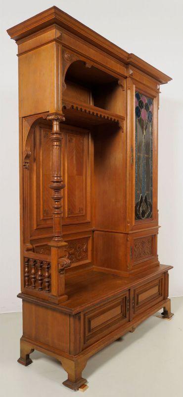 Gründerzeit Garderobenschrank mit Bank und kleiner Vitrine Antik Kolosseum 1