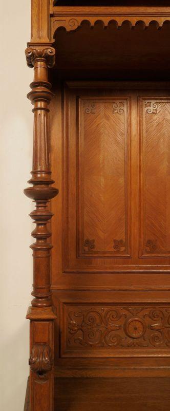 Gründerzeit Garderobenschrank mit Bank und kleiner Vitrine Antik Kolosseum 10
