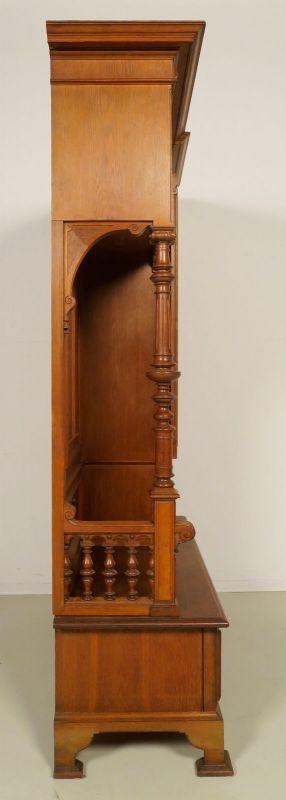 Gründerzeit Garderobenschrank mit Bank und kleiner Vitrine Antik Kolosseum 2