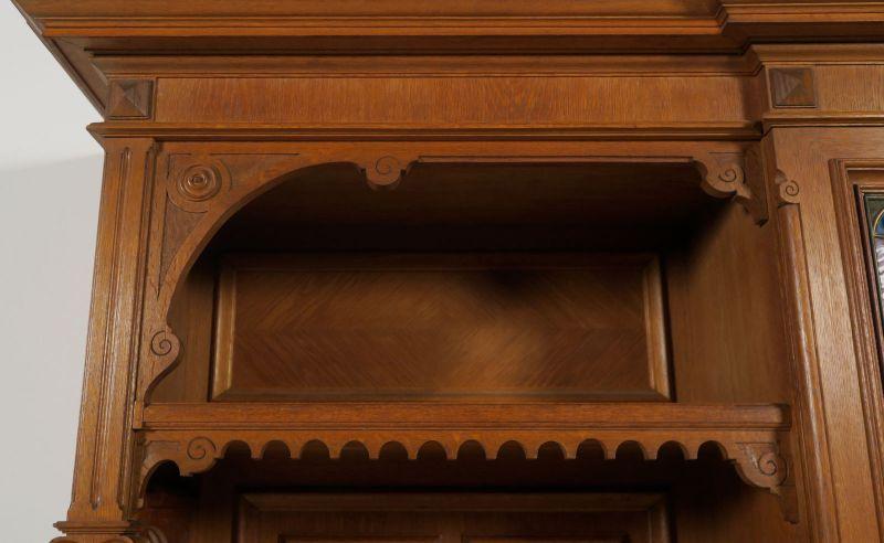 Gründerzeit Garderobenschrank mit Bank und kleiner Vitrine Antik Kolosseum 4