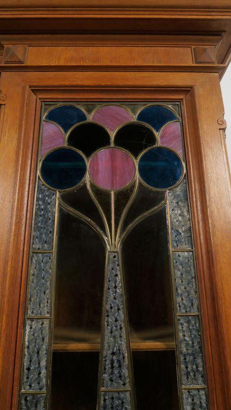 Gründerzeit Garderobenschrank mit Bank und kleiner Vitrine Antik Kolosseum 6