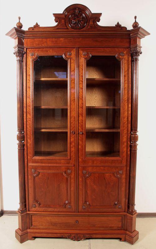 Traumhafter restaurierter Bücherschrank mit Vollsäulen Antik Kolosseum