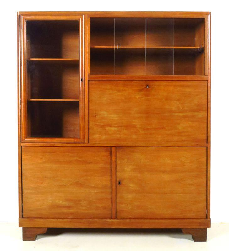 Eleganter Art Deco Bücherschrank mit Sekretärsfach Antik Kolosseum