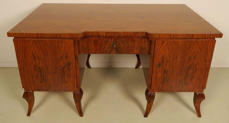 Restaurierter stilvoller Art Deco Schreibtisch aus Nussbaum Antik Kolosseum